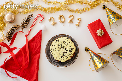 New year's decoration on white background