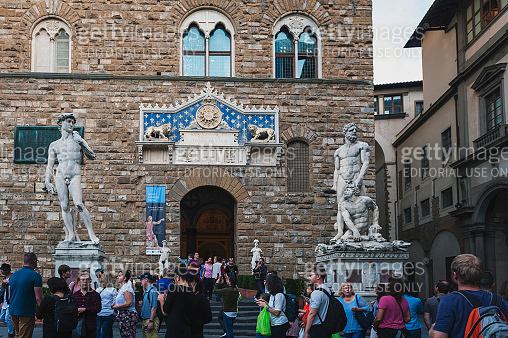 Statues of David and Hercules and Cacus at entrance of Palazzo Vecchio, town hall of Florence, located on Piazza della Signoria (Signoria square) in Florence, Italy