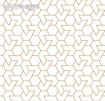 Seamless arabic geometric ornament in brown color.Thin lines.