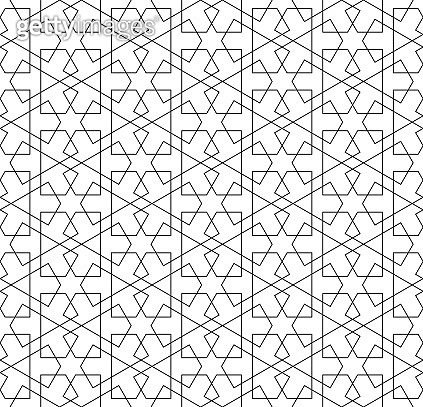 Seamless arabic geometric ornament in black and white.Thin lines.