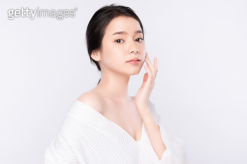 Portrait young asian woman clean fresh bare skin concept. Asian girl beauty face skincare and health wellness, Facial treatment, Perfect skin, Natural makeup, on white background.
