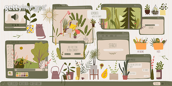 freelancer computer desktop. pop-ups, watching videos, audio, drawing, home improvement with cozy objects. minimalism, abstraction. house plants and flowers. Vectorgany graphics, print, trend