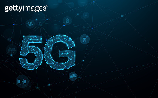 5G new generation networks, High-speed mobile Internet. Abstract connection technology concept background. 3D polygonal. Vector illustration