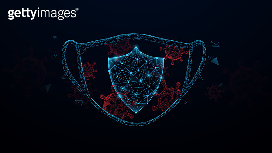 Mask and Corona Virus Protection From Lines, Triangles, Particle, Low Poly and Wireframe Design. Vector Illustration