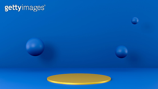 Minimalist scene in classic blue colors, gold podium pedestal, flying 3d spheres, 3d render illustration. Exhibition presentation mockup with space for merchandise, luxury platform, front view.