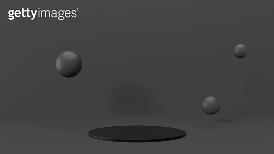 Minimalist scene in black, grey colors, black podium pedestal, flying 3d spheres, 3d render illustration. Exhibition presentation mockup with space for merchandise, showcase platform, front view.