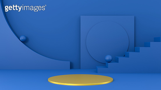 Abstract 3d background in trendy classic blue color. Geometric shapes, staircase, spheres, rectangle, gold podium. Blank exhibition mockup concept, blue studio room, luxury platform abstract design.