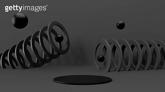 Futuristic minimal background, black color, empty studio room, 3d render illustration. Abstract graphic design elements mockup. Dynamic geometric shapes, balls, staircase, display podium platform.