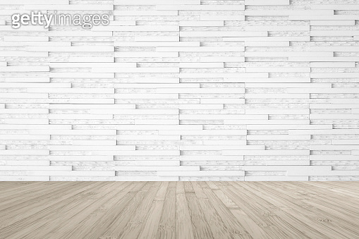 Modern marble tile wall pattern textured background in light white color with wooden floor in sepia brown