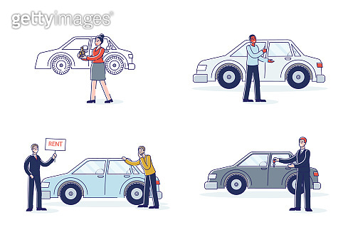 Car rent clients. Set of cartoon characters taking cars for rent and dealers selling new vehicles