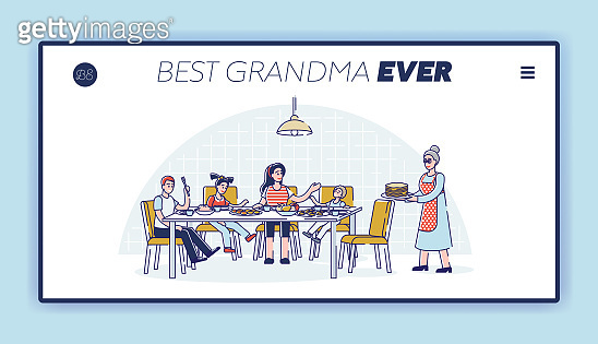 Best grandmother landing page template with big family visit granny for holiday dinner