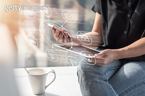 Internet of things - IOT via communication network service on mobile apps on smartphone and digital tablet technology for people work online at home or remote workplace