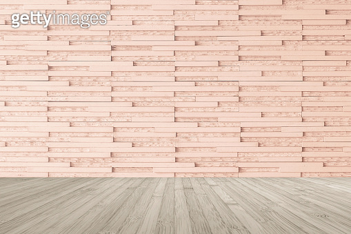 Modern granite tile wall pattern textured background in light red brown color with wooden floor in sepia brown