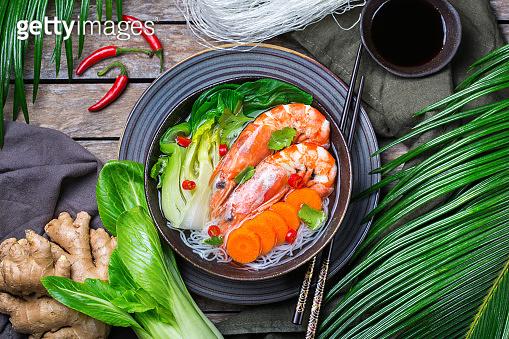 Asian bee hoon, bihun soup with shrimp, prawn, rice noodles