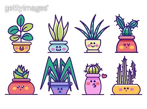 Kawaii houseplants in pots with happy faces set