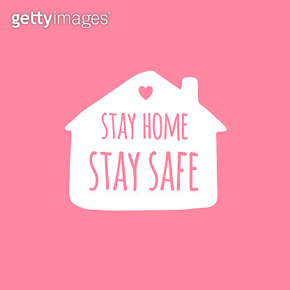 Vector white Stay home Lettering typography poster in house silhouette for self quarine times