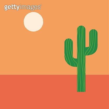 Simple green cactus in desert under warm sun, simple modern flat illustration. Nature landscape in desert. Mexican style. Modern Hand drawn vector illustration