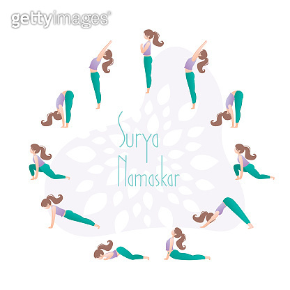Sun salutation. Surya namaskar. Complex asanas,fitness training.Yoga sequence.