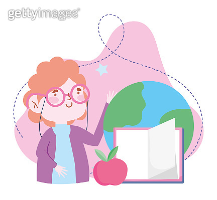 online education, teacher world book and apple, website and mobile training courses