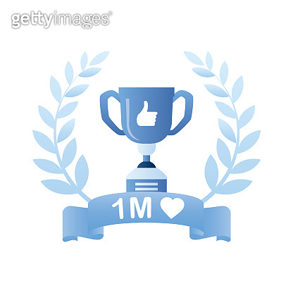 Winner cup inside of award wreath with ribbon. 1 Million likes, successful results in social media.