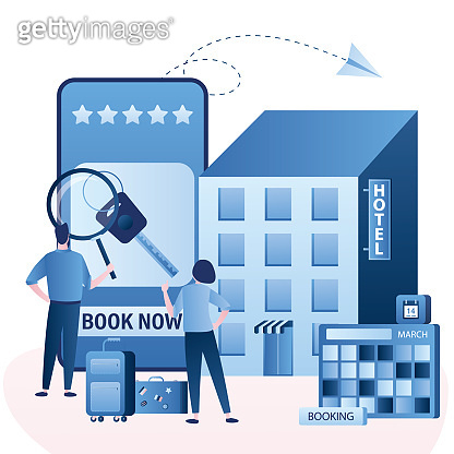 Hotel or apartments online booking. Couple of tourists with baggage, search and book hotel room.