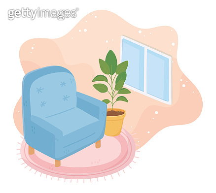 sweet home armchair potted plant on carpet and window