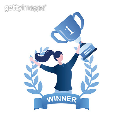 Happy businesswoman inside of award wreath with ribbon. Clerk or manager holding best workers winning trophy.