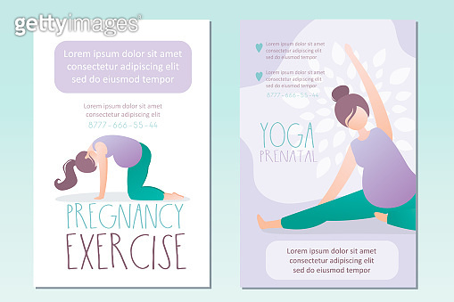 Beauty pregnant woman doing yoga poses. Cards or banners template, place for text. Soft prenatal yoga exercises.