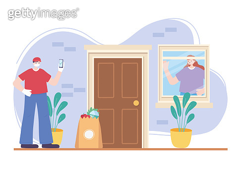 online delivery service, masked courier and smartphone grocery bag and woman in window home, fast and free transport, coronavirus covid 19