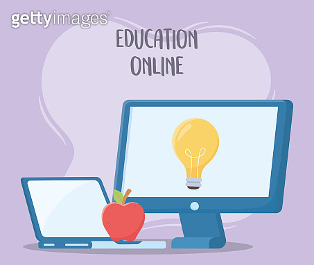 online education, computer laptop and apple creativity