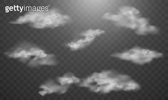 set cloud isolated on the transparent background.