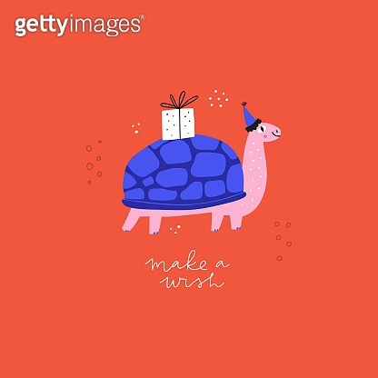 Turtle flat vector illustration with greeting text