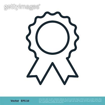 Award Rosette Medal Banner Icon Vector Logo Template Illustration Design. Vector EPS 10.