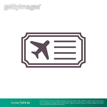 Airplane Ticket Icon Vector Logo Template Illustration Design. Vector EPS 10.