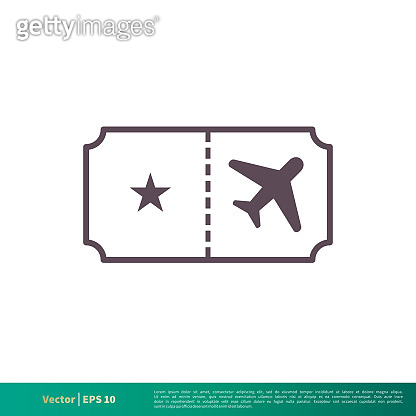 Airplane Ticket Icon Vector Logo Template Illustration Design. Vector EPS 10.