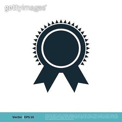 Seal Ribbon Emblem Icon Vector Logo Template Illustration Design. Vector EPS 10.