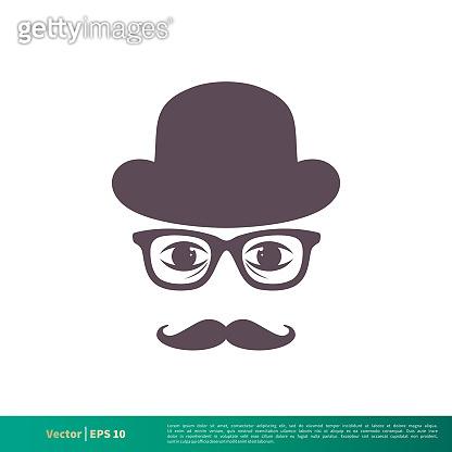 Retro Mustache, Eyeglasses and Hat Icon Vector Logo Template Illustration Design. Vector EPS 10.