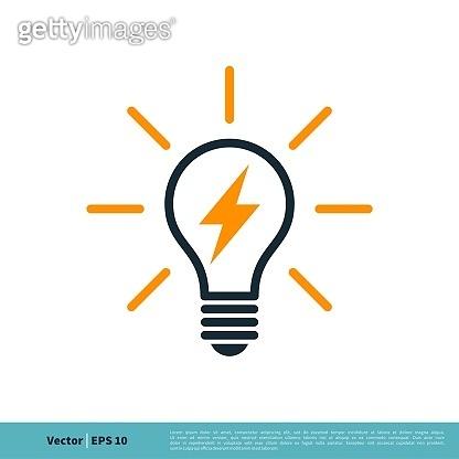 Light Bulb Lighting bolt Icon Vector Logo Template Illustration Design. Vector EPS 10.