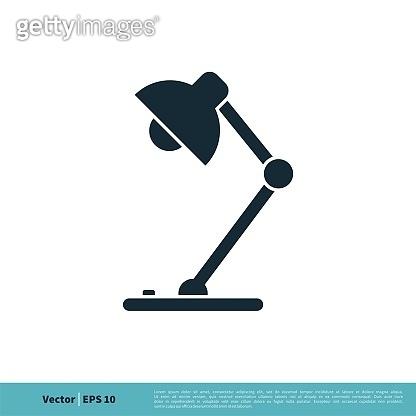 Desktop Lamp Icon Vector Logo Template Illustration Design. Vector EPS 10.