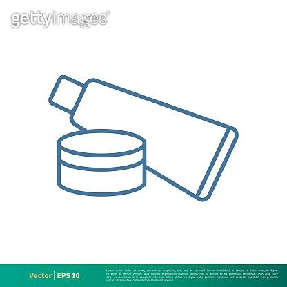 Beauty Care, Cosmetic Cream Bottle Icon Vector Logo Template Illustration Design. Vector EPS 10.