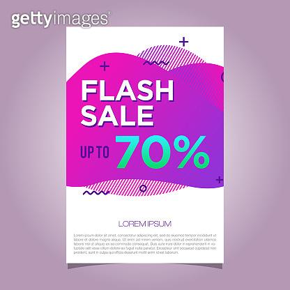Flash Sale 70% banner. Liquid background purple color vector template illustration design EPS 10
