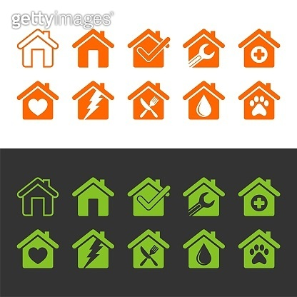 Set Home, House, Architecture, Building Icon Logo Template Illustration Design. Vector EPS 10.
