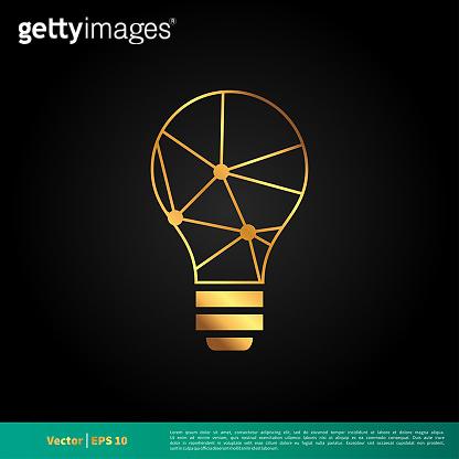 Gold Bulb Line Icon Vector Logo Template Illustration Design. Vector EPS 10.