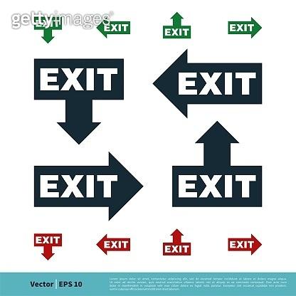 Exit Sign Arrow Icon Vector Logo Template Illustration Design. Vector EPS 10.