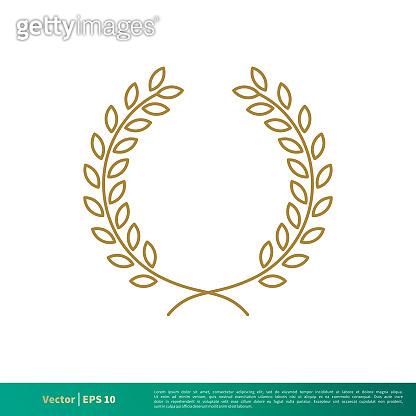 Gold Laurel Wreath Decorative Frame Vector Template Illustration Design EPS 10.