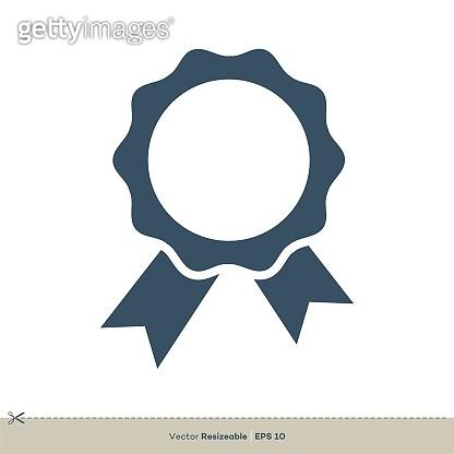 Award Ribbon Rosette Vector Logo Template Illustration Design. Vector EPS 10.