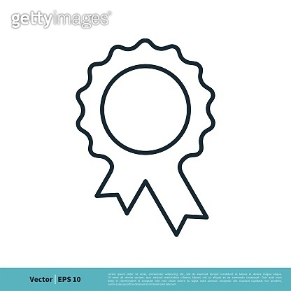 Award Ribbon Rosette Badge Icon Vector Logo Template Illustration Design. Vector EPS 10.
