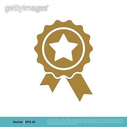 Badge Stamp Ribbon Rosette Winner Sign Icon Vector Logo Template Illustration Design. Vector EPS 10.