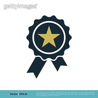 Badge Stamp Rosette Ribbon Winner Sign Icon Vector Logo Template Illustration Design. Vector EPS 10.