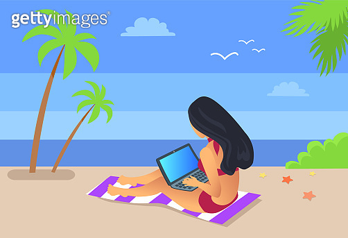 Worker with Laptop by Seaside Vector Illustration